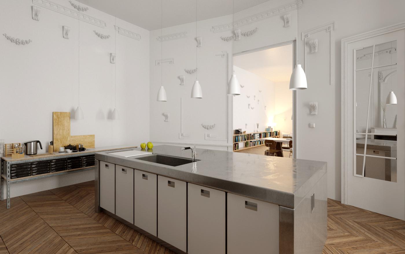 rénovation appartement : vue de la cuisine de l'appartement parisien