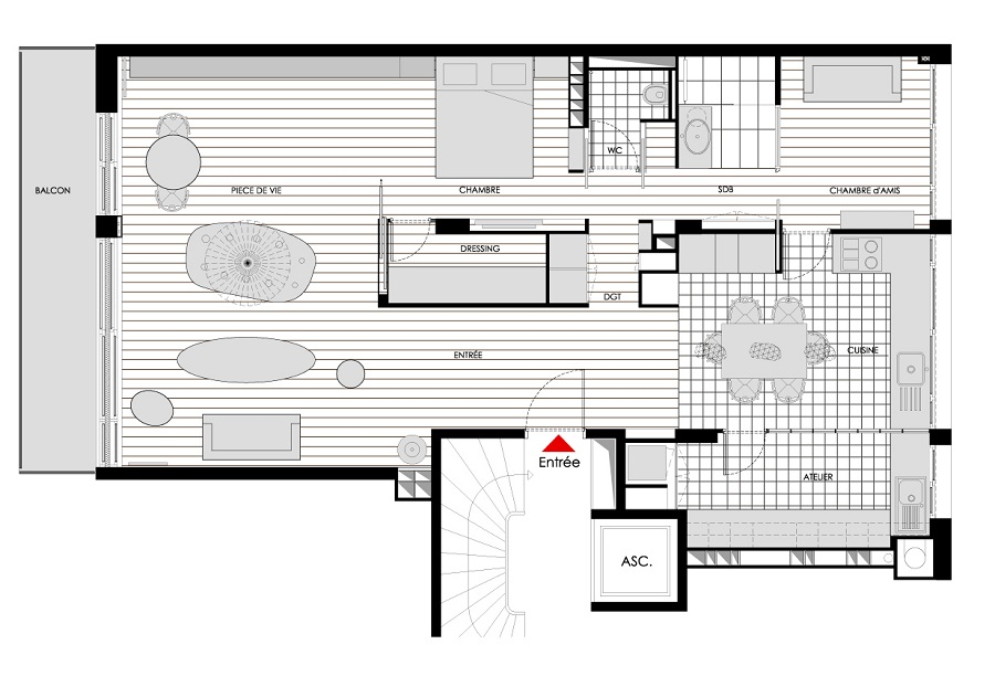 Plan appartement a paris - Plan maison avec appartement ...