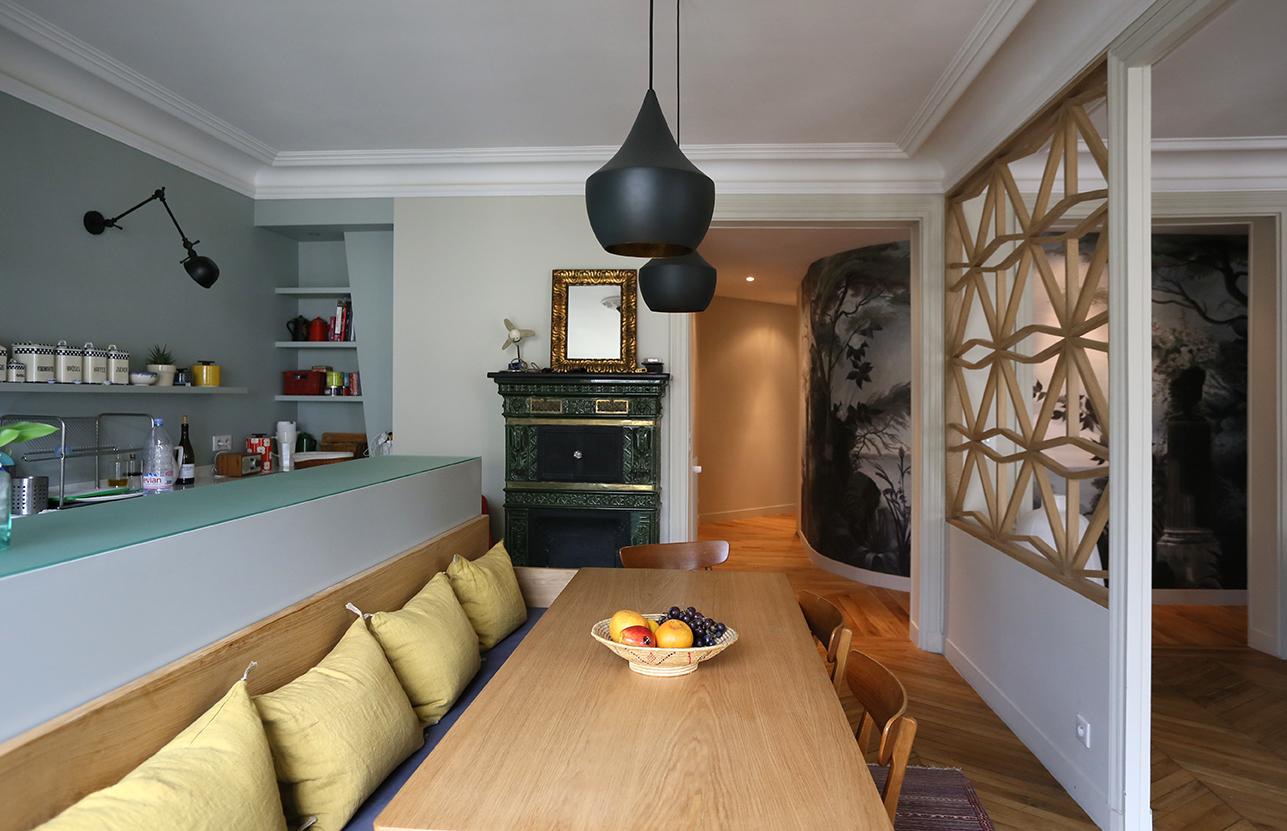 rénovation appartement : claustra vue de la salle à manger