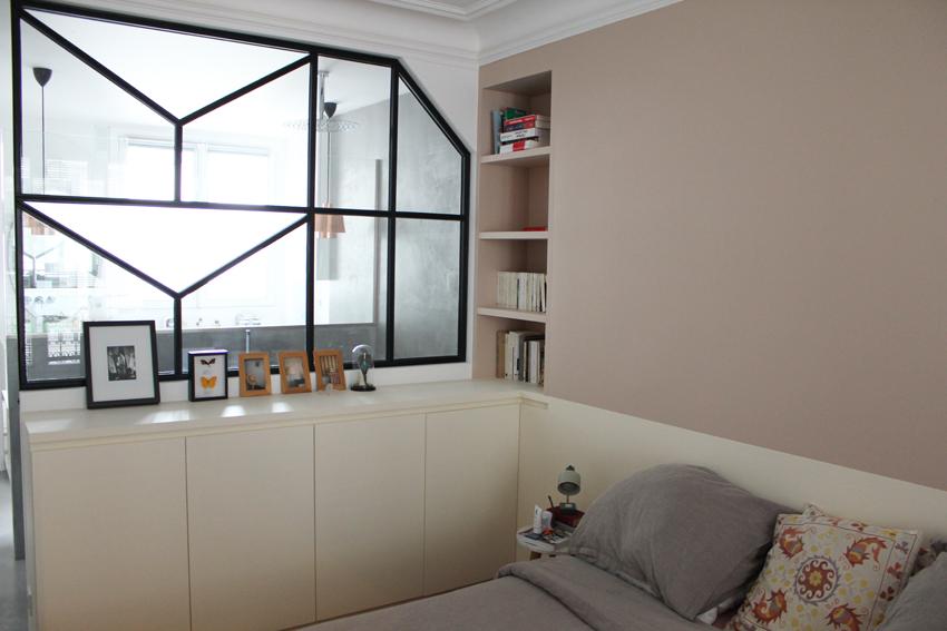 rénovation appartement : claustra vue de la chambre