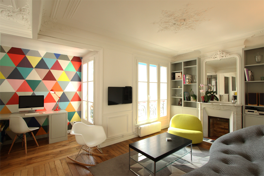 rénovation appartement : léon cogniet vue du salon