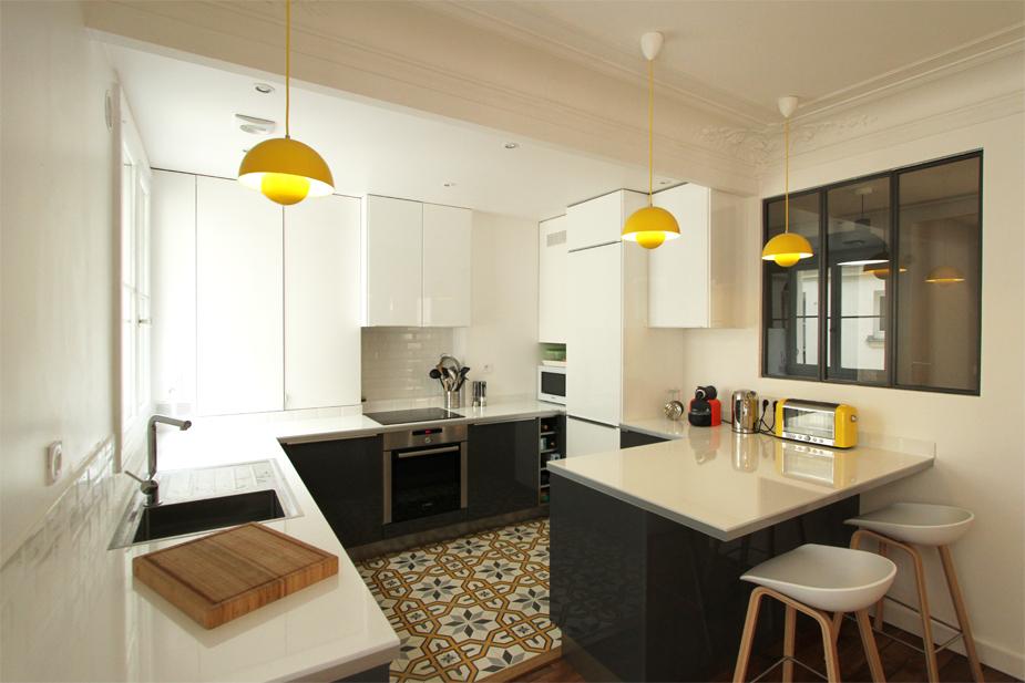 rénovation appartement : léon cogniet vue de la cuisine
