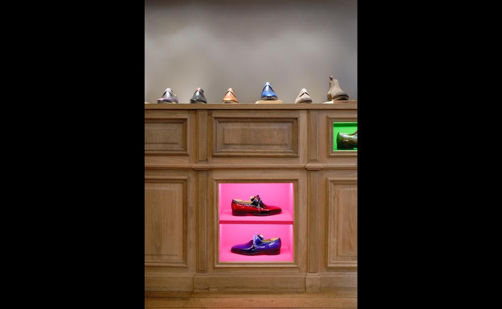 Boutique Pierre Corthay Bottier, Paris détail de chaussures