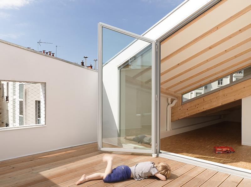 Penthouse Paris XIII de Tanya Klyne Architecte vue de la terrasse
