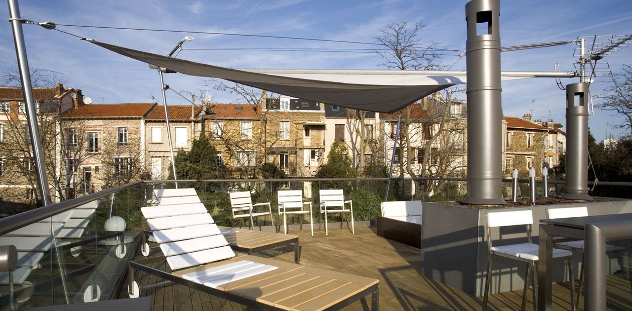 Plus belles maisons de paris : projet de Pablo Katz Architecture vue de la terrasse