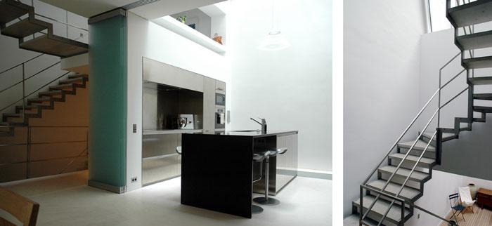 Hôtels particuliers de Paris : réalisé par Hardel Lebihan, vue de la cuisine